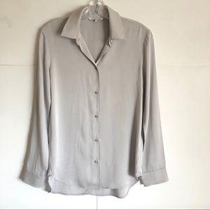 Helmut Lang Gray Silk Button Up Shirt Size M